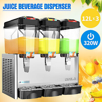 Commercial 3 Tank Juice Beverage Dispenser Cold Drink w/ Thermostat Controller