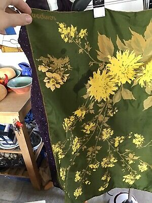 True Vintage Jacqmar Silk Scarf Head Square Green Yellow Coreopsis Flowers Large