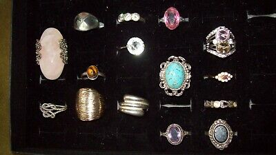 Box Of Fifteen Rings 3 Are Silver (Not Vintage)