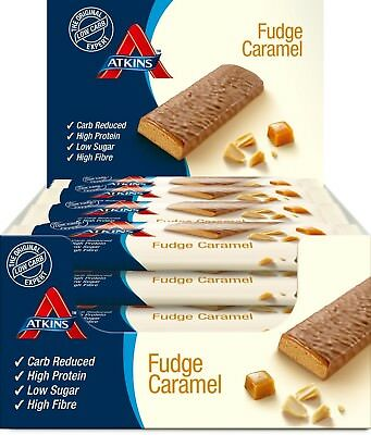 Atkins Chocolate Fudge Caramel, Low Carb, High Protein Snack Bar, 16 x 60g Bars