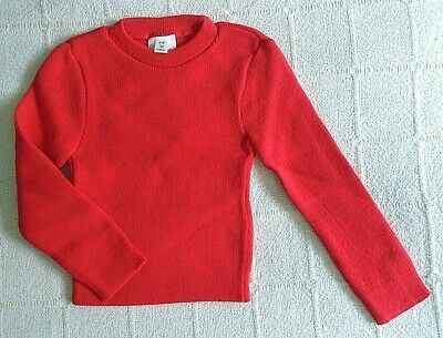 Vintage Crew-Neck Jumper - Age 2-4 Years Approx - Cherry Red - Acrylic - New