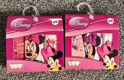 Girls Ex-Disney Pack of 3 pairs MINNIE MOUSE Pants//Briefs Ages  2//3 4//5 6//8 yrs