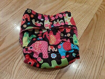 Honeybuns cloth diaper cover with elephants One Size 12-35 lbs, new without tags