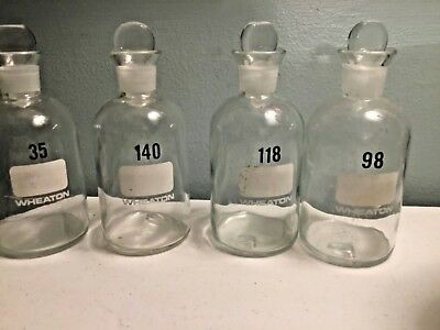 Vintage Wheaton 300ml Glass Laboratory Bottles With Glass stoppers lot of 4