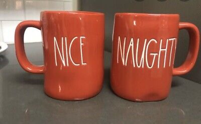 New 2019 Christmas Rae Dunn Red Naughty Nice 2 Sided Mug