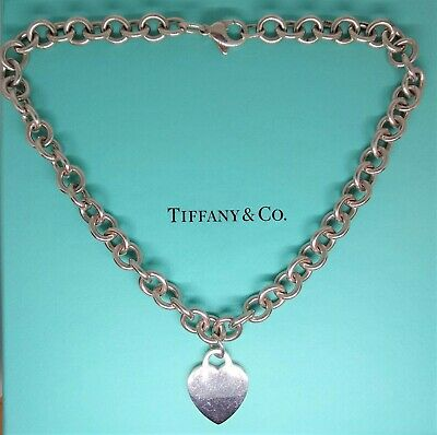 Tiffany & Co. Sterling Silver, 10mm Rolo Chain Link ,Heart Pendant Necklace.