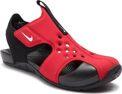 NIKE SUNRAY PROTECT 2 PS SANDALS RED BLACK 943826-601 BOYS KIDS UK11.5 2.5