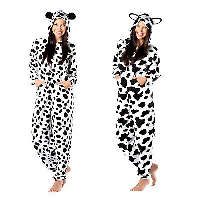 Womens 3D Dog Or Cow Zip Up All In One Ladies Animal Hooded Sleepsuit Loungewear