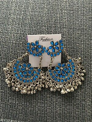 Beautiful Boho Style Blue Color Indian Ear Rings