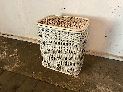 White and Pink Wicker Rectangle Washing Laundry Basket