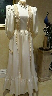 VINTAGE 1970/80's JOHN CHARLES EDWARDIAN STYLE WEDDING/BRIDESMAID DRESS UK 6/8