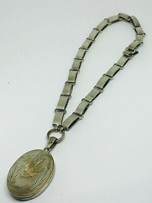Antique victorian silver plated locket and collar necklace