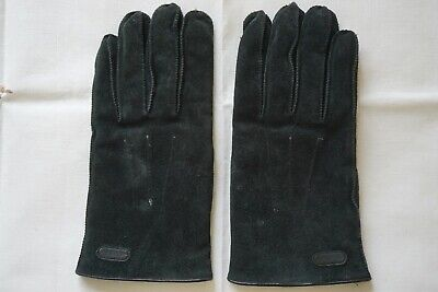 Canda, Men's Black Suede Leather Winter Gloves with Faux Fur Lining, Size XL