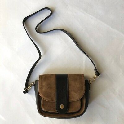 Fairfax & Favor brown suede leather cross body saddle bag