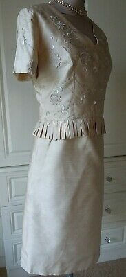 Vintage Cream Pure Silk Mother Of The Bride/Occasion Dress Uk 10