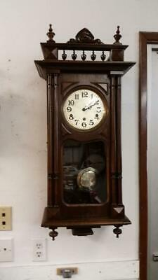 German Haller & Benzing Walnut Westminster Chime Wall Clock