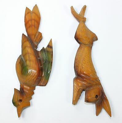 Vintage Wooden Cuckoo Clock Rabbit And Painted Pheasant Case Decoration - Mc04