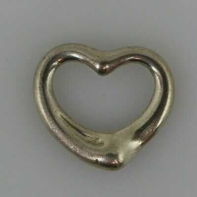 Tiffany & Co. Sterling Silver Elsa Peretti Open Heart Charm Necklace Pendant *