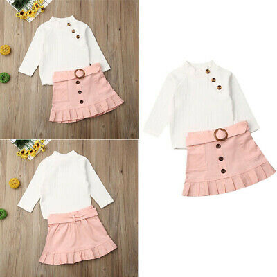 Baby Girl Autumn Winter  Warm Clothes Sweater Tops+Mini Skirt Outfits Set 2Pcs