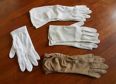Vintage Ladies Gloves - 4 Pair - White, Off White, Beige & Coffee Colours C1950s