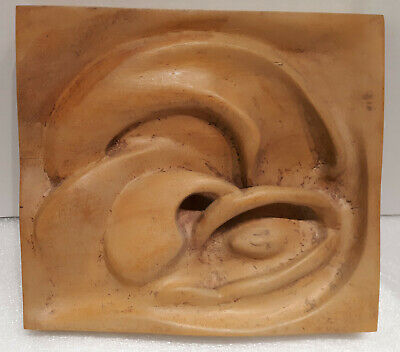 1950 Artist Hand Carved Mid Century Modern Wood Sculpture Wall Picture Plaque