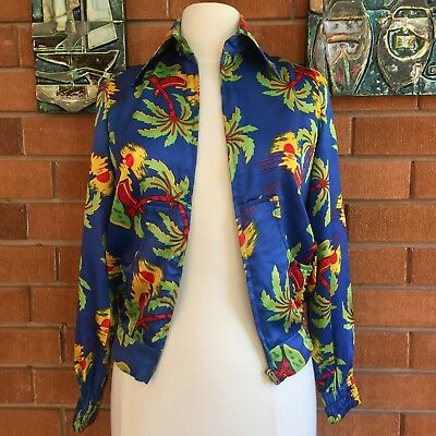 Vintage Bomber Jacket Satin Zip Front Thornton Hall 1970's Size 12