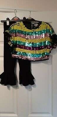River Island Girls 5-6 Years Sequin Stripe Top & Black Frill Flared Trousers Set