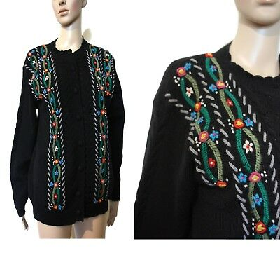 Black Embroidered Cardigan Sweater 80s Wool woolen knitted Granma Vintage J1 L