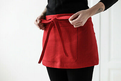 Linen Mini Apron In Deep Red / Natural Cafe Apron / Unisex Waitress Chef Apron
