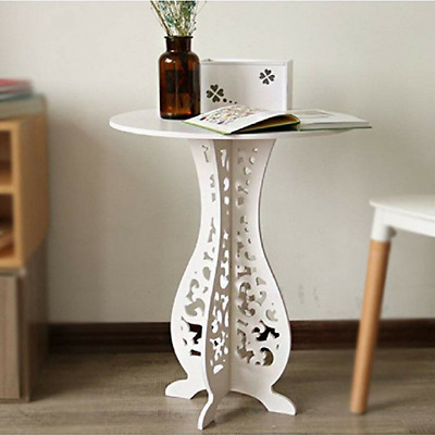 Small Round Slim Wood Table Bedside End Side Telephone Table Storage Plant Stand