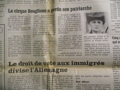 Journal Du Deces De: Joseph Bouglione Le Patriarche + Rosa Bouglione 1987 & 2018
