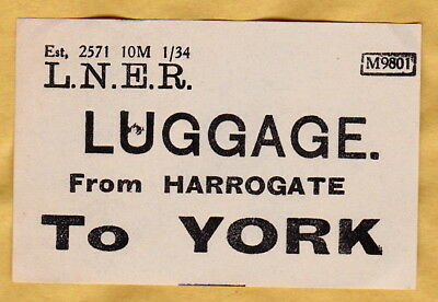 LONDON & NORTH EASTERN RAILWAY LUGGAGE LABEL - YORK from Harrogate