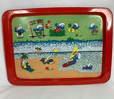 Vintage Smurf Collectible Tray by Willow Metal Tray Aluminium Beach Smurfs