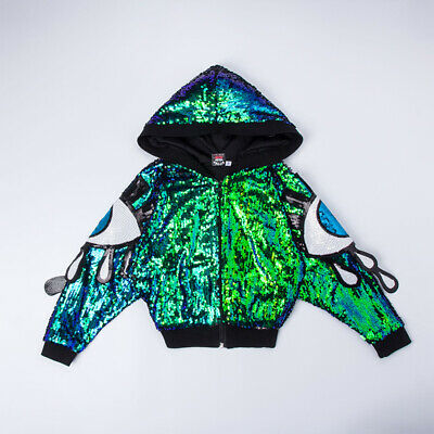 Street Dance Wear Costume Girls Sequins Kids Hip Hop Jumpsuit Jazz Coat Jacket