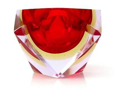 IN VOGUE Murano Multi Sommerso Pink Red Amber Art Glass Space Age Block Bowl