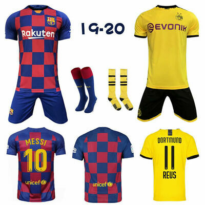 19/20 Football Kits Soccer Jersey Club Strips 3-13Yrs Kids Boys Sport Outfit UK