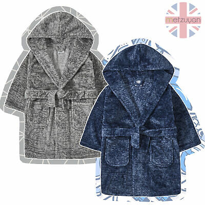 Boys Kids Soft Bathrobe Childs Dressing Gown Faux Marl Effect Infant 2-13 Years