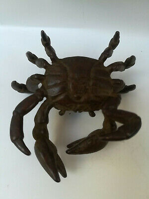 Antique Chinese Collectible Rare Old Copper Handwork Lifelike Crab Wonder Statue