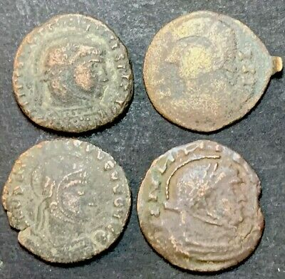 4 X Unique Ancient Barbarian Issue Of Roman Imperial Coins. Incredibly Rare.