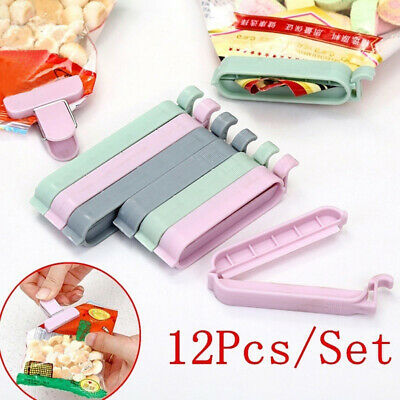 12Pcs Clips Household Food Storage Bag Sealer Mini Snack Clamp Kitchen Tool