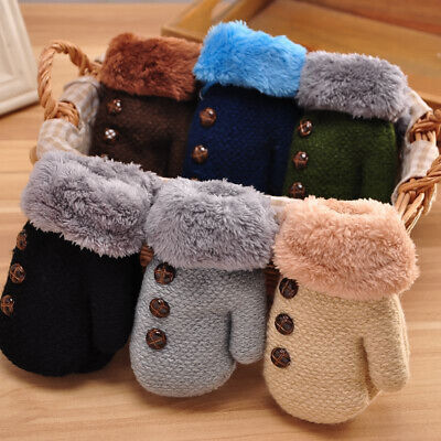 Winter Soft Kids Boys Girls Gloves Full Finger Warm Buttons Knitting Mittens