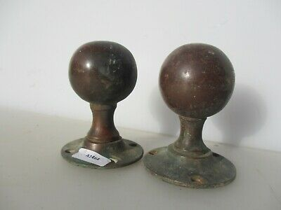Victorian Bronze Door Knobs Handles Architectural Antique Old Brass Vintage ODD