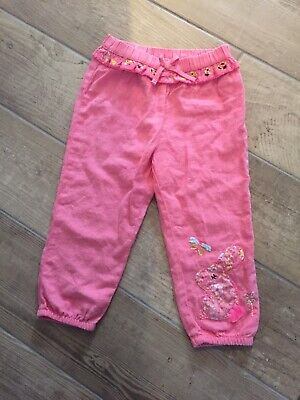 Brand New Girls Next Linen Style Bunny Pink Trousers Age 12-18 Months