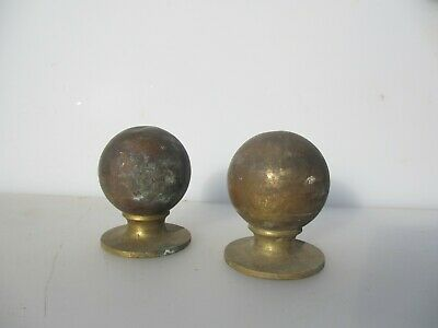 Victorian Brass Finial Bed Knobs Antique Mount Curtain Pole Ends Vintage Old