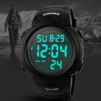 Screen Face Digital LED Military Waterproof Large Men's Watches Sports Watch US