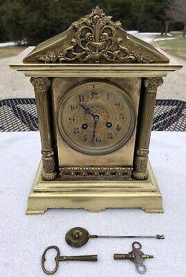 1880's Antique French Brass Mantel Shelf Clock Working Correctly Japy Freres