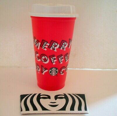 Starbucks 2019 MERRY COFFEE Red Reusable Cups Grande 16oz Christmas PAPER SLEEVE