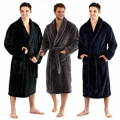 Harvey James Mens Luxury Soft Coral Fleece Robe Cosy Shawl Collar Dressing Gown