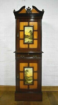 Antique mahogany tall bookcase / side cabinet with beautiful painted panels