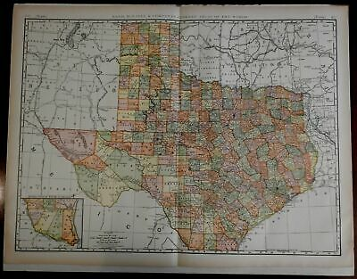 Texas State large oversized old map 1902 Rand McNally detailed County Map